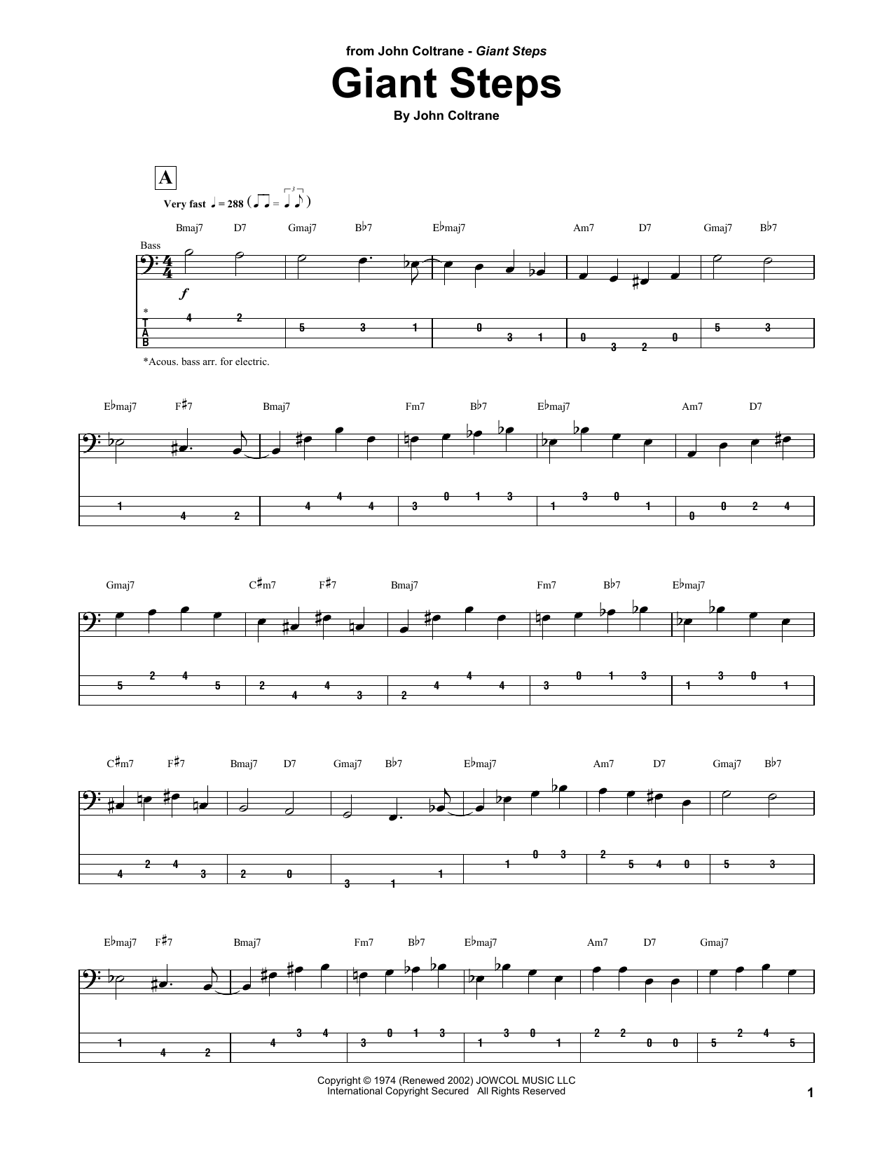 Giant Steps (Bass Guitar Tab)