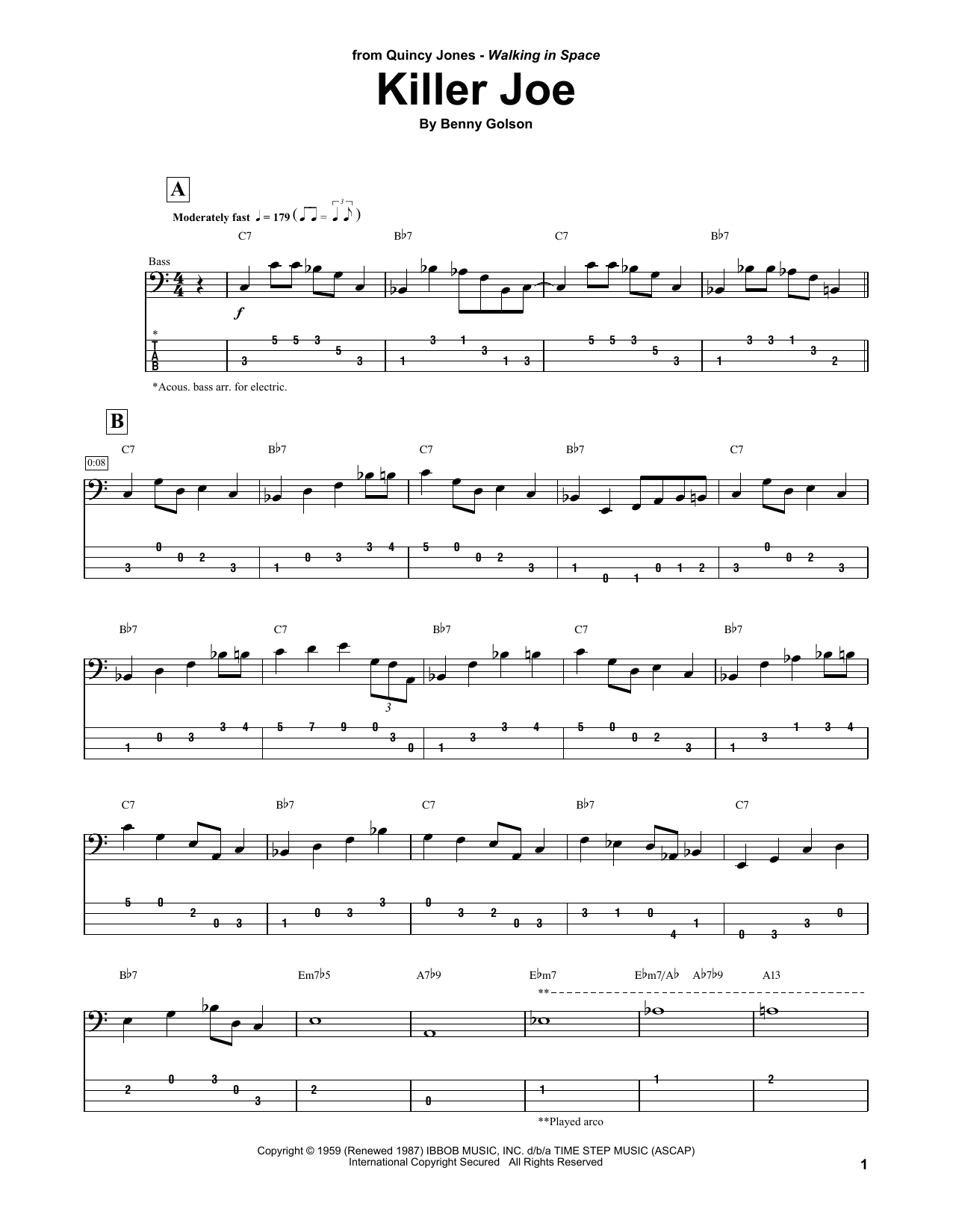 Killer Joe (Bass Guitar Tab)
