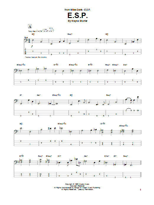 E.S.P. (Bass Guitar Tab)
