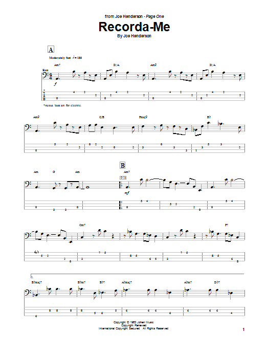 Tablature guitare Recorda Me de Joe Henderson - Tablature Basse