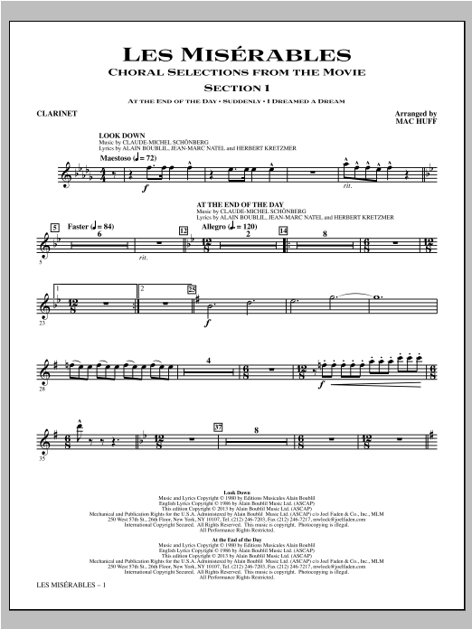 Les Miserables (Choral Selections From The Movie) - Clarinet Sheet Music