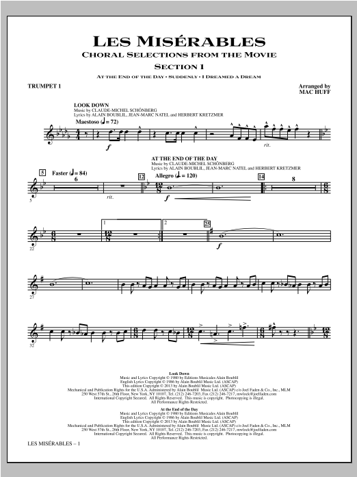 Les Miserables (Choral Selections From The Movie) - Trumpet 1 Sheet Music
