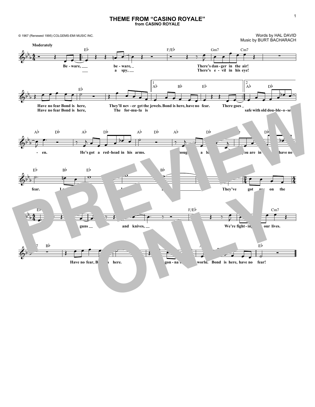 Theme From Casino Royale Sheet Music