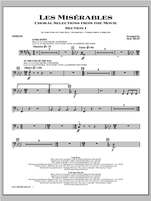 Les Miserables (Choral Selections From The Movie) - Timpani Sheet Music
