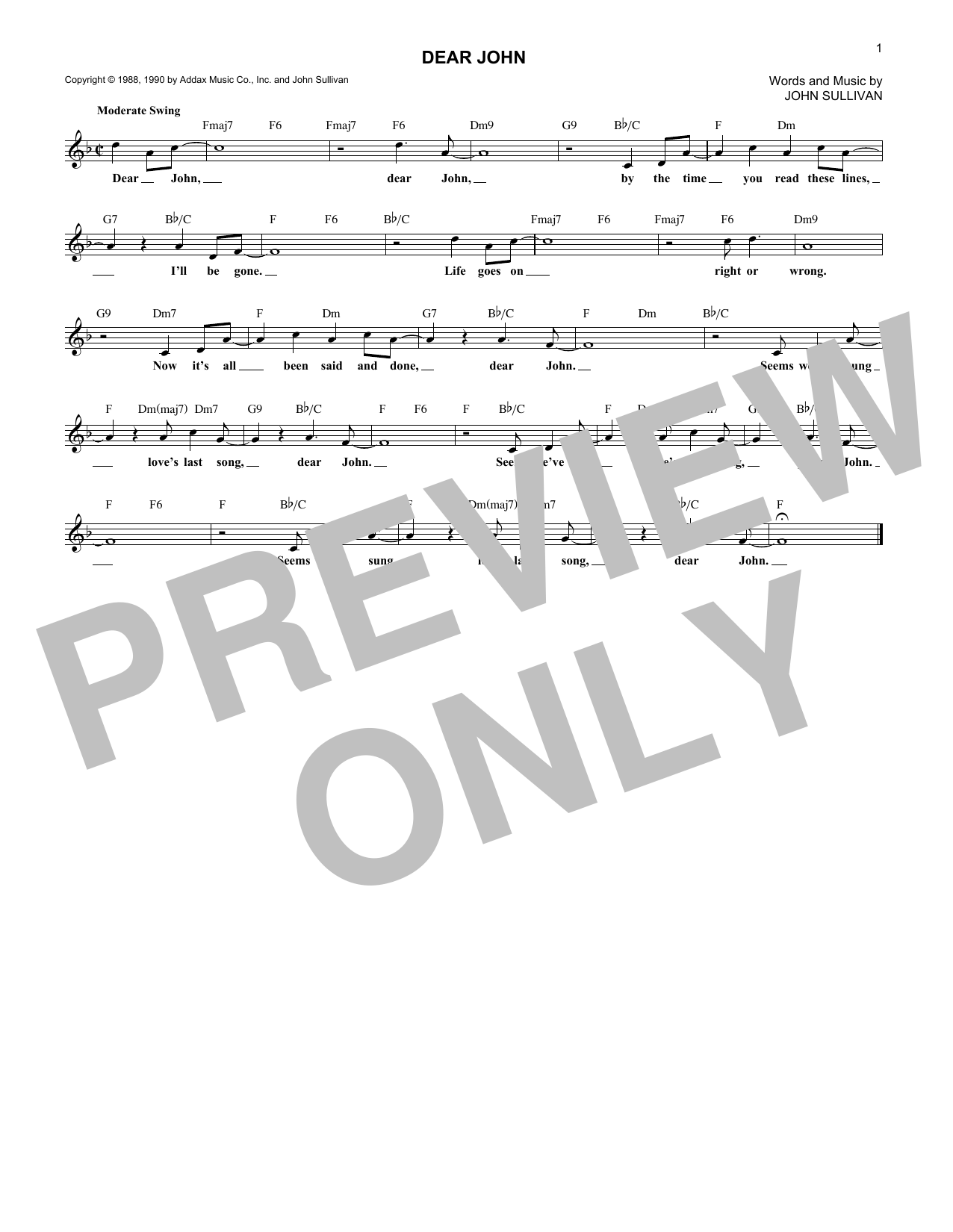 Dear John Sheet Music