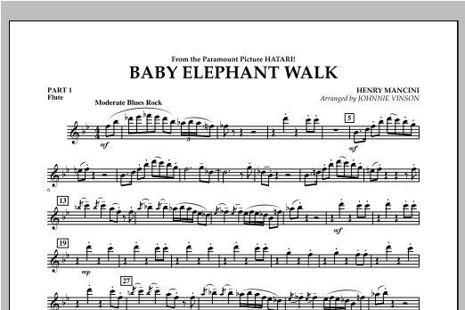 Baby Elephant Walk - Pt.1 - Flute Sheet Music