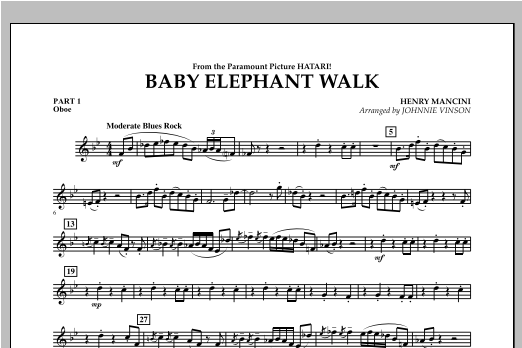 Baby Elephant Walk - Pt.1 - Oboe Digitale Noten
