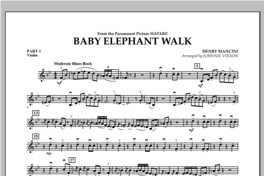 Baby Elephant Walk - Pt.1 - Violin Sheet Music