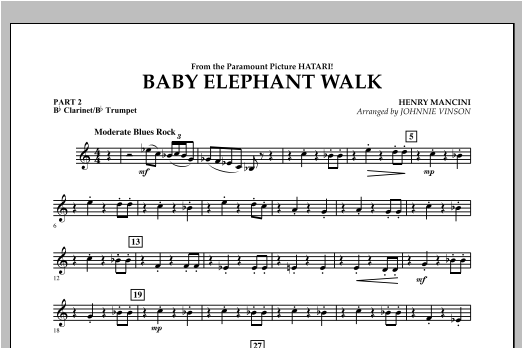 Baby Elephant Walk - Pt.2 - Bb Clarinet/Bb Trumpet Partition Digitale