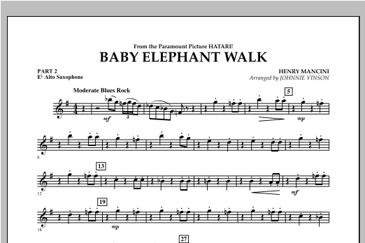 Baby Elephant Walk - Pt.2 - Eb Alto Saxophone Sheet Music