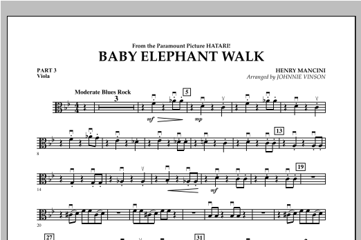 Baby Elephant Walk - Pt.3 - Viola Sheet Music