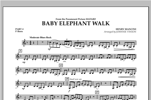 Baby Elephant Walk - Pt.4 - F Horn Sheet Music