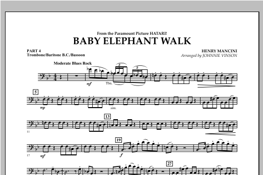 Baby Elephant Walk - Pt.4 - Trombone/Bar. B.C./Bsn. Sheet Music