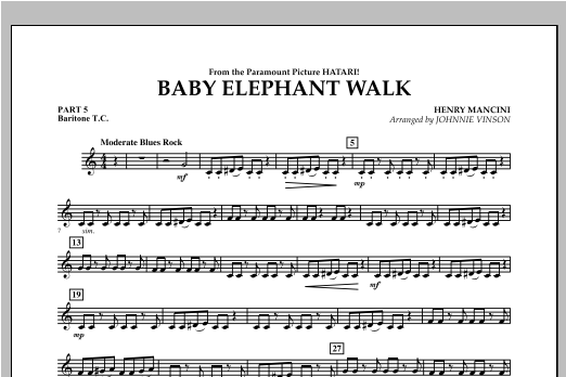 Baby Elephant Walk - Pt.5 - Baritone T.C. Sheet Music