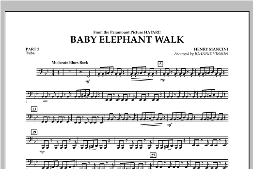 Baby Elephant Walk - Pt.5 - Tuba Sheet Music
