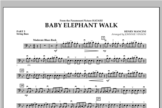 Baby Elephant Walk - Pt.5 - String Bass Sheet Music