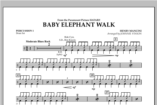 Baby Elephant Walk - Percussion 1 Sheet Music