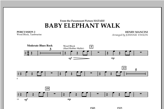 Baby Elephant Walk - Percussion 2 Sheet Music