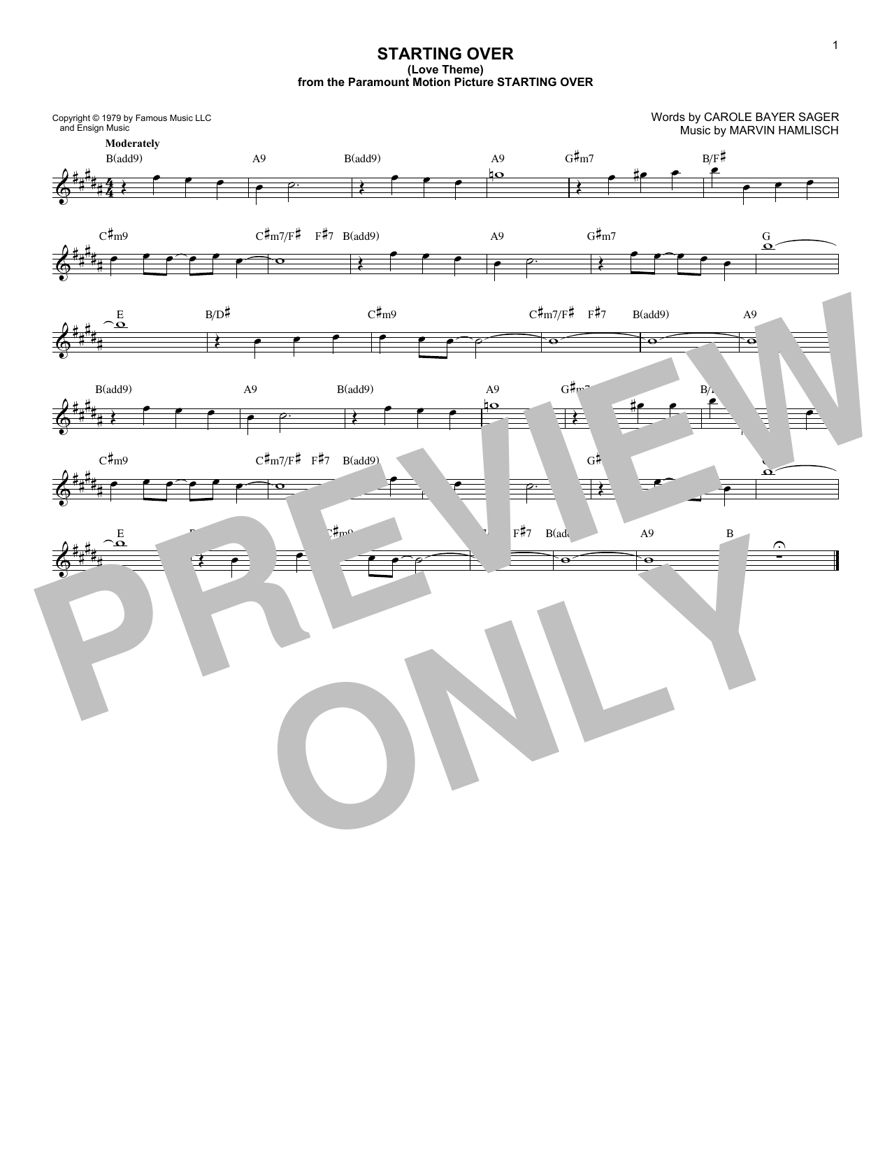 Starting Over (Love Theme) Sheet Music