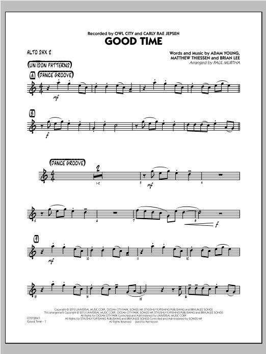 Good Time - Alto Sax 2 Sheet Music