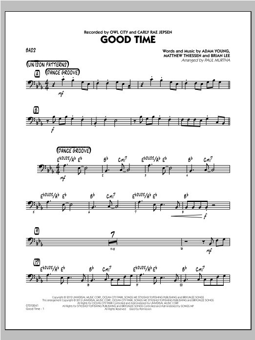 Good Time - Bass Sheet Music