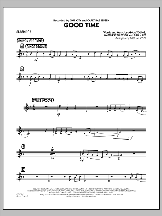 Good Time - Bb Clarinet 2 Sheet Music