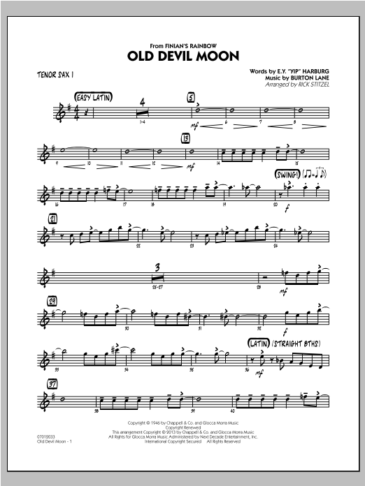 Old Devil Moon - Tenor Sax 1 Sheet Music