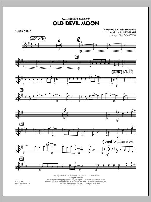 Old Devil Moon - Tenor Sax 2 Sheet Music