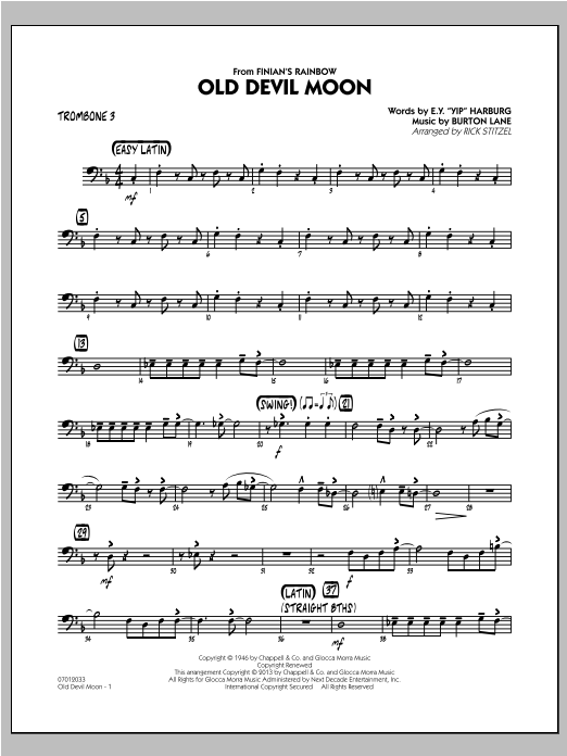 Old Devil Moon - Trombone 3 Sheet Music