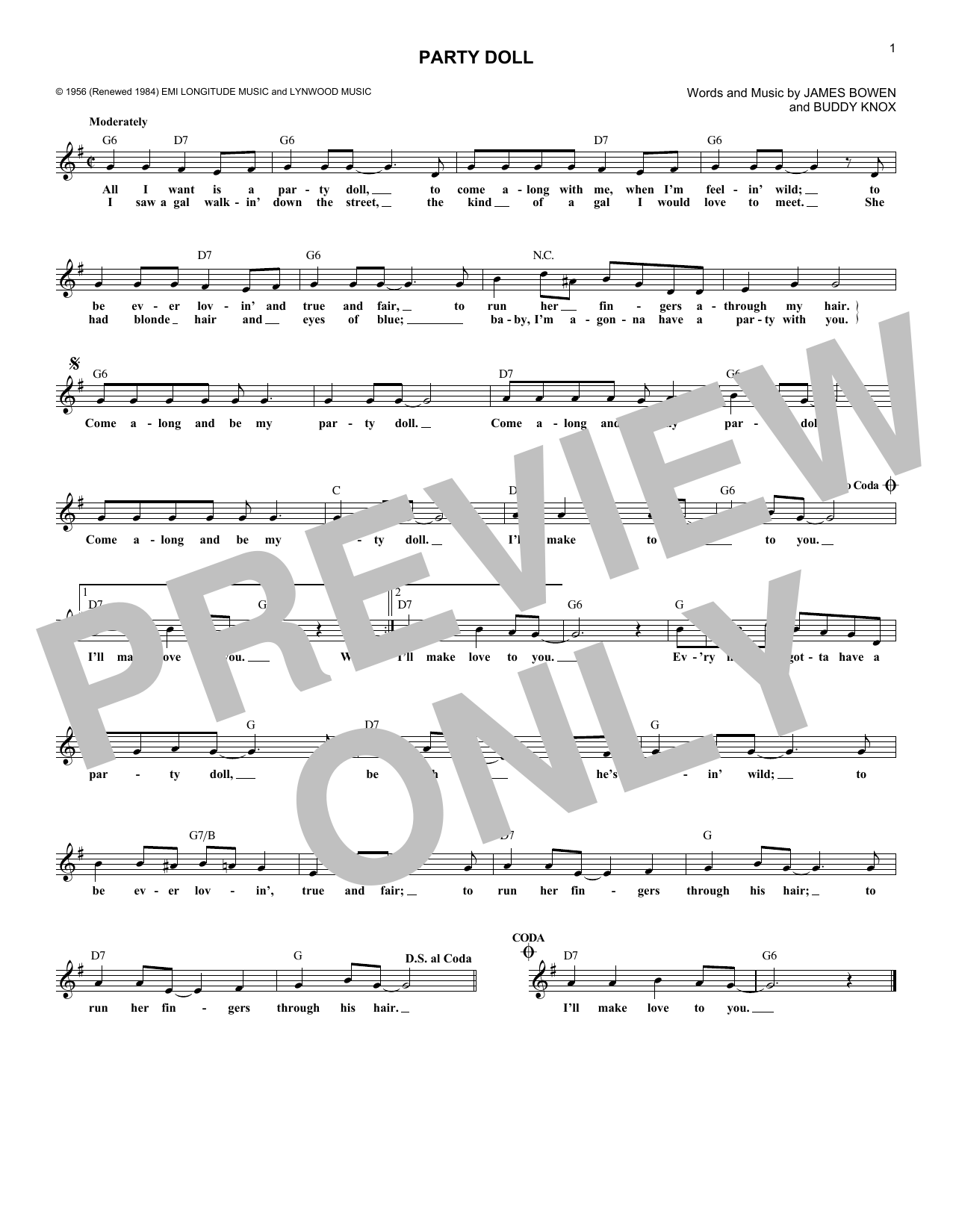 Party Doll (Lead Sheet / Fake Book)
