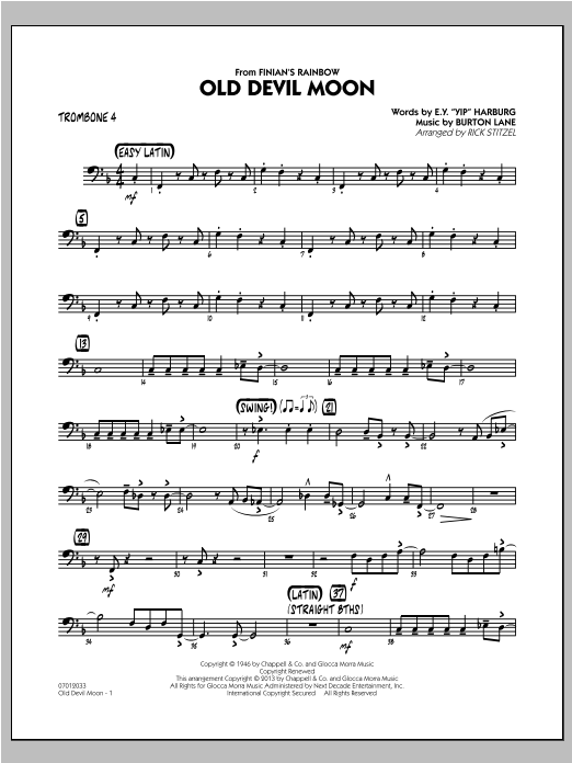 Old Devil Moon - Trombone 4 Sheet Music