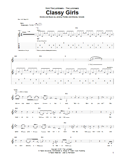 Tablature guitare Classy Girls de The Lumineers - Tablature Guitare