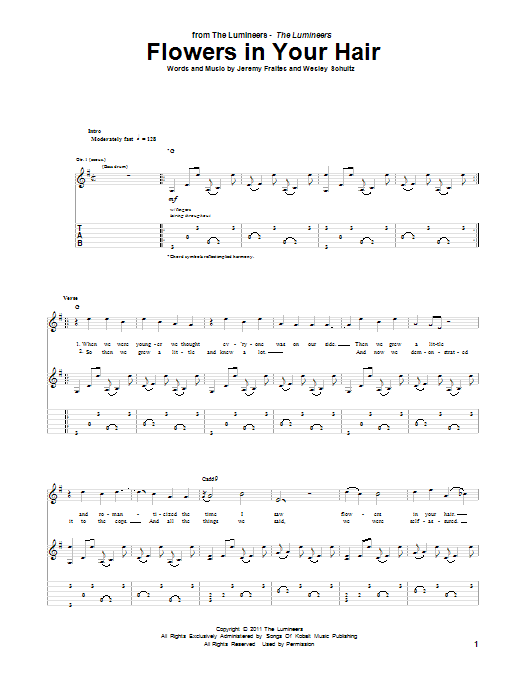 Tablature guitare Flowers In Your Hair de The Lumineers - Tablature Guitare