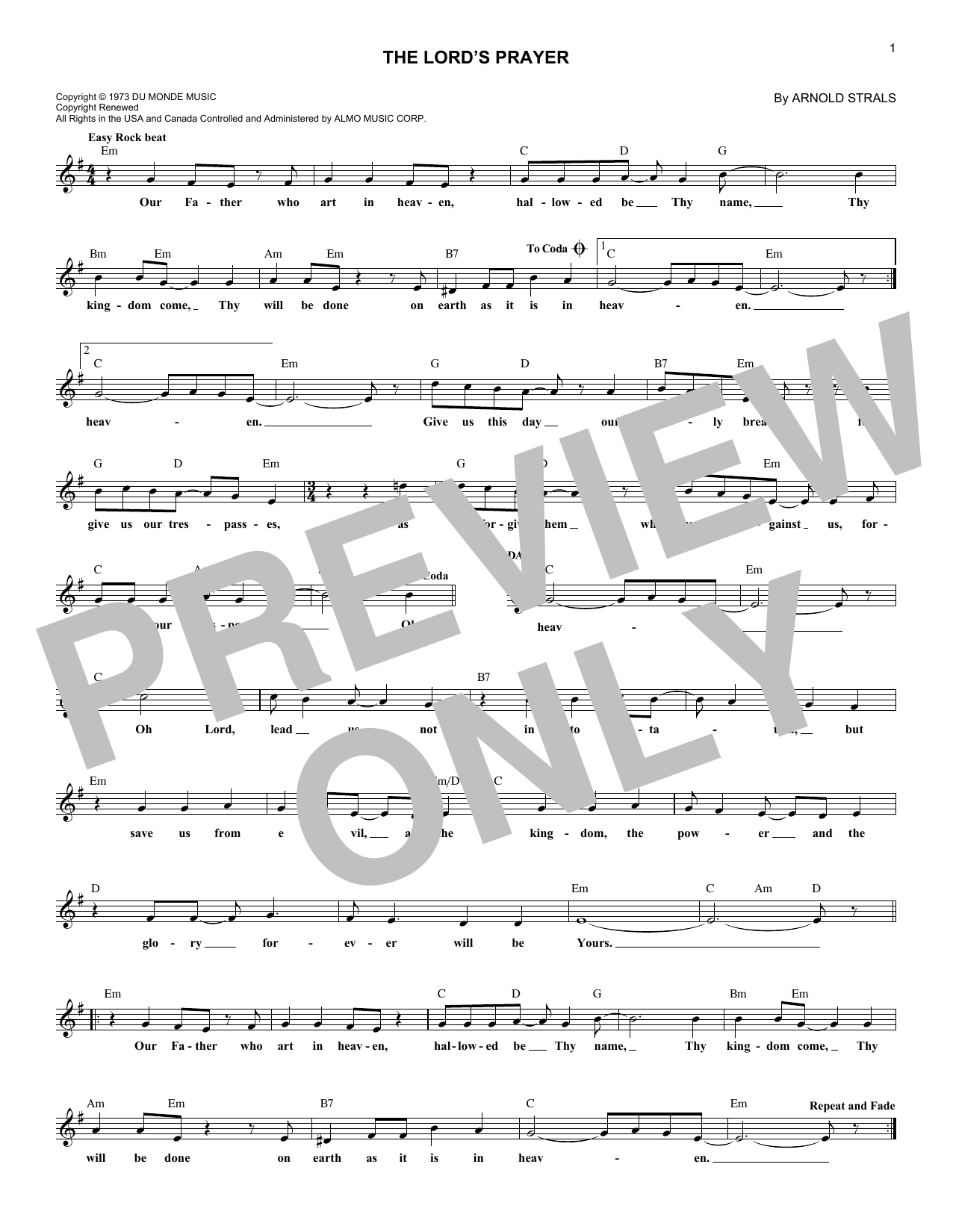 The Lord's Prayer (Lead Sheet / Fake Book)