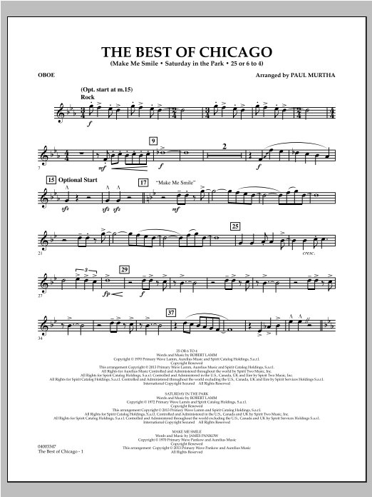 The Best Of Chicago - Oboe Sheet Music