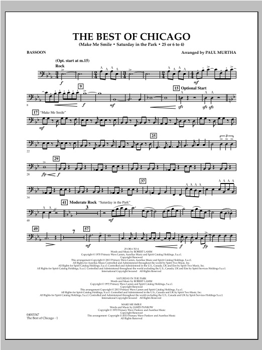 The Best Of Chicago - Bassoon Sheet Music