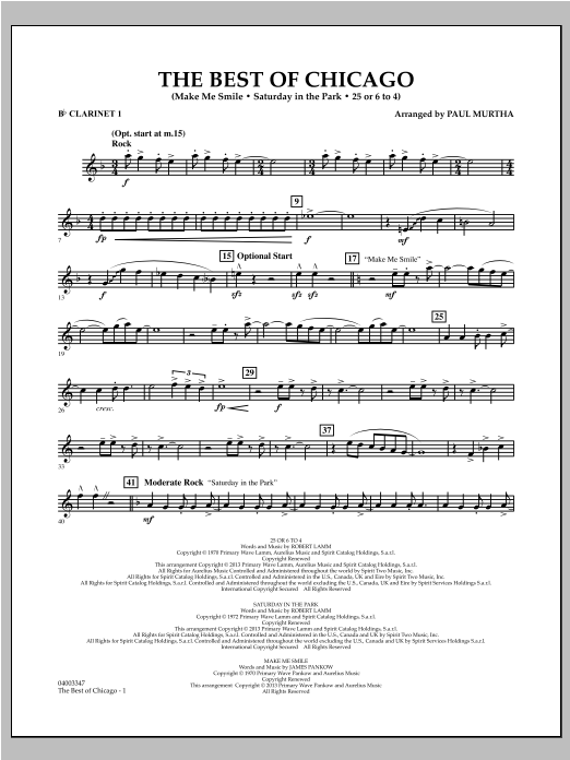 The Best Of Chicago - Bb Clarinet 1 Sheet Music