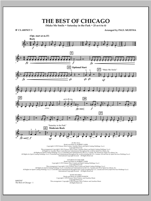 The Best Of Chicago - Bb Clarinet 3 Sheet Music