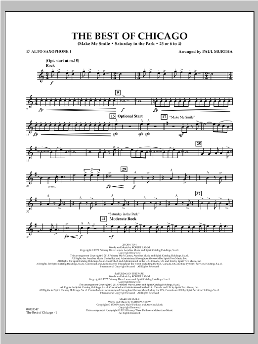 The Best Of Chicago - Eb Alto Saxophone 1 Sheet Music