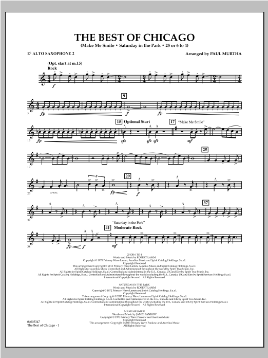 The Best Of Chicago - Eb Alto Saxophone 2 Sheet Music