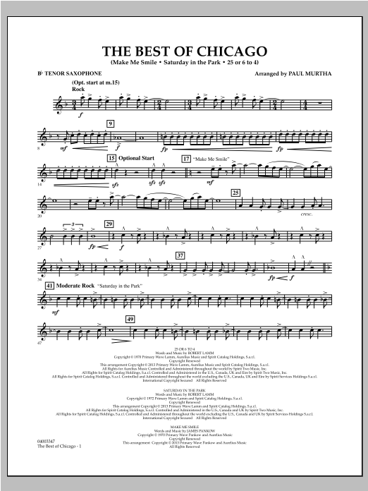 The Best Of Chicago - Bb Tenor Saxophone Sheet Music