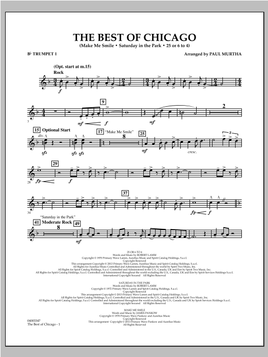 The Best Of Chicago - Bb Trumpet 1 Sheet Music
