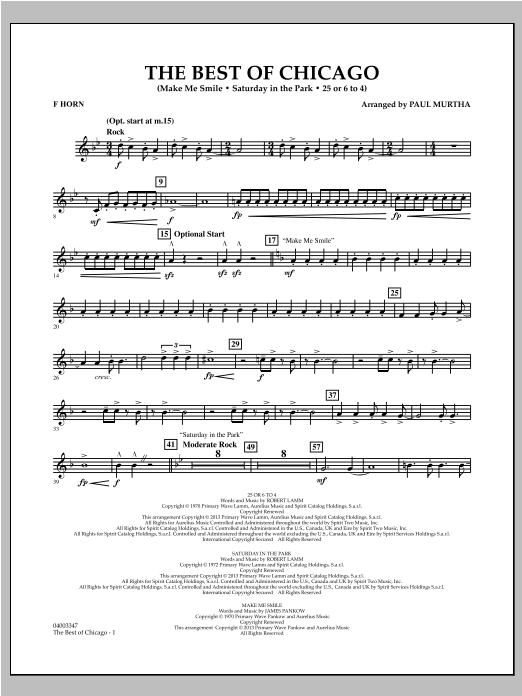 The Best Of Chicago - F Horn Sheet Music
