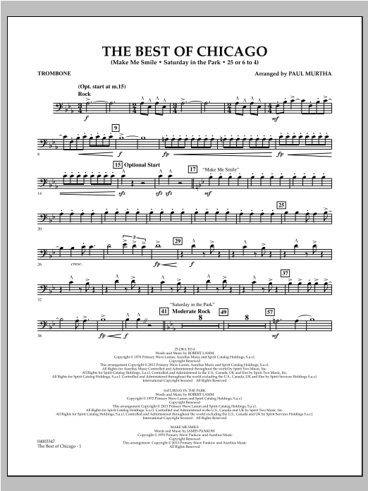 The Best Of Chicago - Trombone Sheet Music