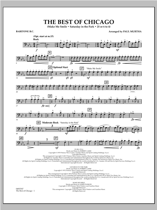 The Best Of Chicago - Baritone B.C. Sheet Music