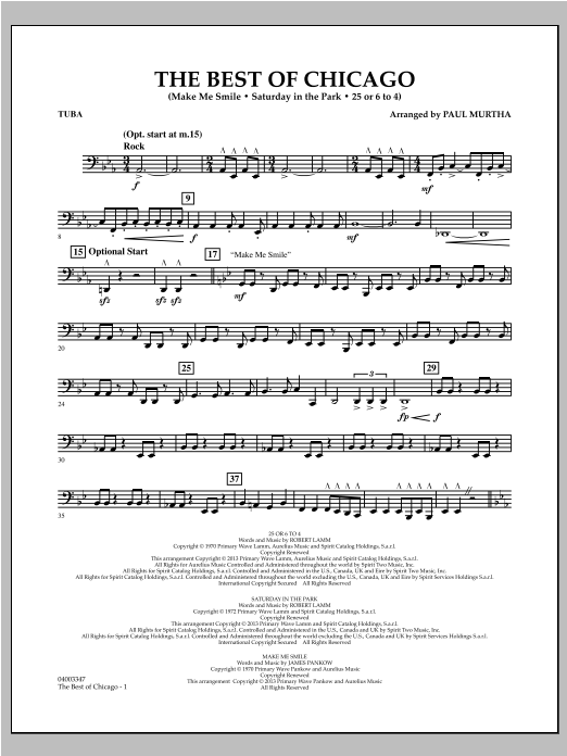 The Best Of Chicago - Tuba Sheet Music