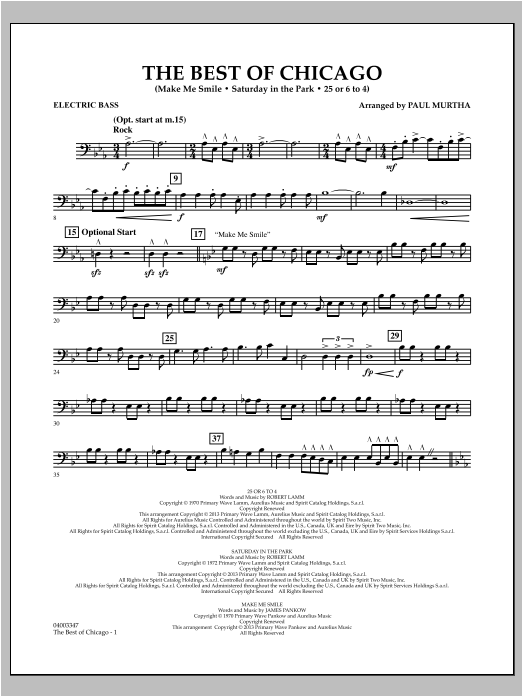 The Best Of Chicago - Electric Bass Sheet Music