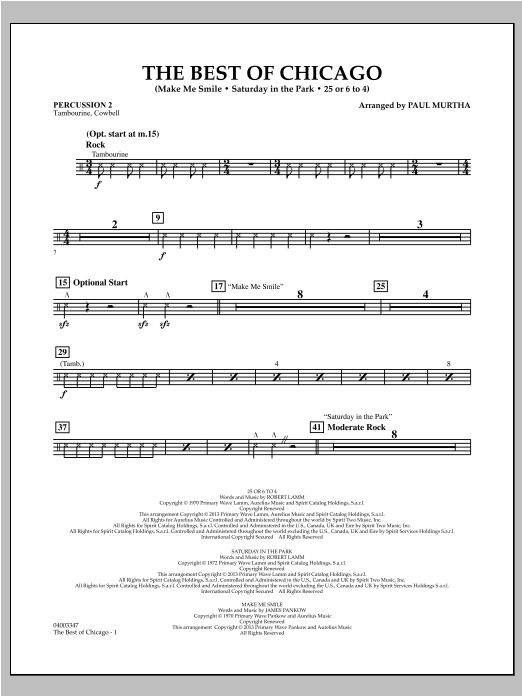The Best Of Chicago - Percussion 2 Sheet Music