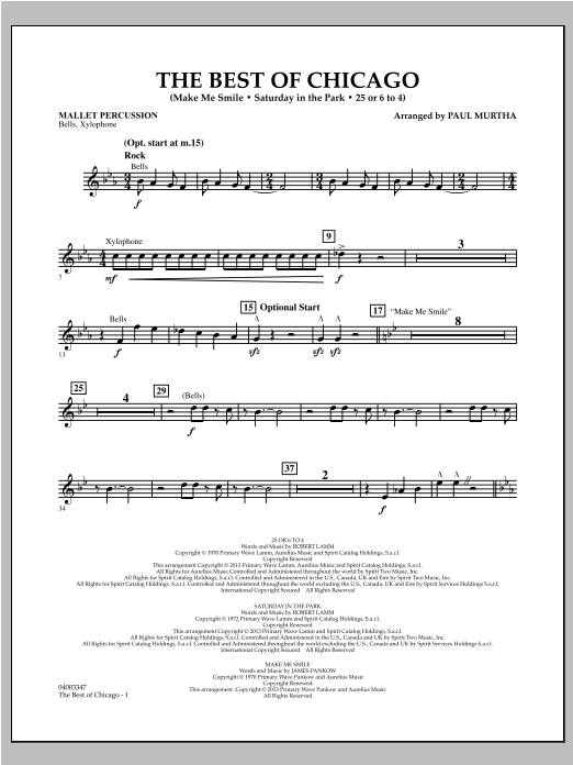 The Best Of Chicago - Mallet Percussion Sheet Music