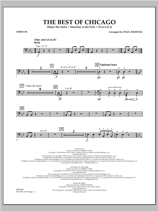 The Best Of Chicago - Timpani Sheet Music